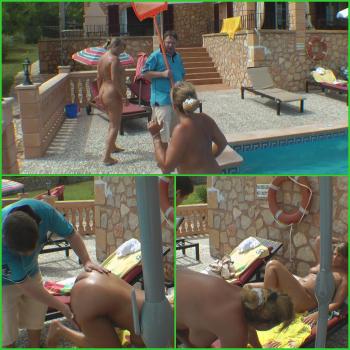 4er mit Bademeister und Hotelgast.