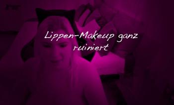 Total ruiniertes Lippenmakeup vom **** einer Blondine